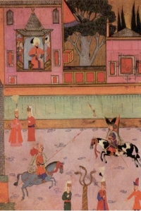 Miniature painting of a parade of two riding-gaz veterans from umelia in front of sultanmurat-iii-from-the-surname hmayun 16th century ce