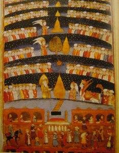 Muhammad travels the seven heavens on Buraq